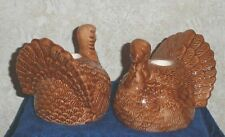 """Thanksgiving TURKEY CANDLE HOLDER SET of 2 fits 1"""" Taper Candles Autumn Harvest"""