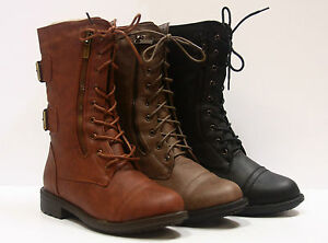 Women's Combat Round Toe Low Heel  Military Lace Up Mid Calf With Zipper NEW