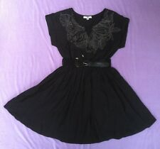 Ya Los Angeles Dress Black Belted with Embroidery Size Medium