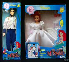 Ariel Bride Doll Eric Groom Wedding Bride Little Mermaid Tyco Disney Doll Lot 2