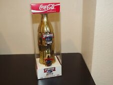 1998 LE Coca Cola Gold Plated Nascar 50th Anniversary Comm Bottle With Pin MIB
