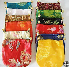 100PCS Wholesale Various color Chinese handmade Silk Gift Bags