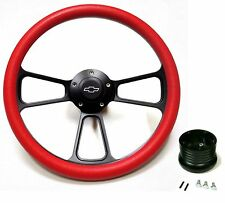 "New World Motoring 1967 - 1968 Chevy II, Nova 14"" Red Billet Steering Wheel +..."