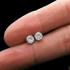 1.00 Carat Round Cut D/VVS1 Diamond Stud Earrings 14K White Gold Over Screw Back