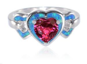 Heart Love Ruby CZ Inlay Blue Fire Opal Genuine Sterling Silver Ring