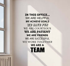 In This Office Wall Decal Teamwork Vinyl Sticker Gift Decor Business Poster 747