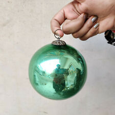 "Antique Kugel 4.25"" Green Round Christmas Ornament Germany Old Collectible"