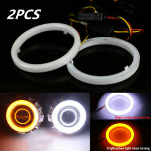 2x 60mm COB LED Angel Eyes Halo Ring Lamp Turn Signal Light White Amber DC 12V