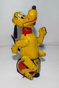 """DISNEY 1950's PLUTO TIN LITHOGRAPHED """"UNICYCLIST"""" LINEMAR WIND-UP TOY+LABEL!"""
