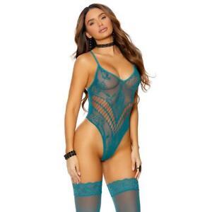 High Cut Lace Teddy Thigh High Stockings Set Thong Back Crochet Sheer Jade 12076