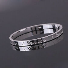 Women Girl Lady Gift SILVER Trendy Bracelet Bangle I LOVE YOU Engraved UK Seller