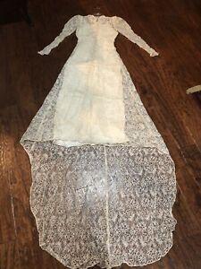Antique Victorian Era Lace Wedding Dress With Veil