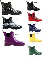 Womens Rain Boots Short Lined Ankle Rubber Assorted Solid Or Print 6 7 8 9 10 11