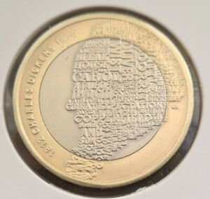 2012 CHARLES DICKENS 2pound Coin in greatcondition,FREE COIN CAPSULE