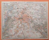 BERLIN und Umgebung Charlottenburg Steglitz Rixdorf historischer Stadtplan 1894