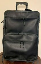"Mulholland Brothers Black Scotch Grain leather 22"" Wheeled Carry On Luggage EUC"