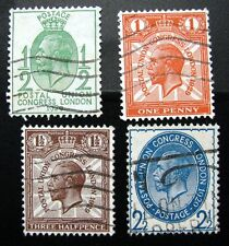Great Britain – 1929 - Four Stamp Lot Sc#'s 162 – 167 All Used