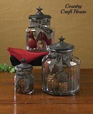 New Primitive Country Kitchen BLACK STAR GLASS CANISTER SET Jar Crocks