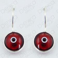 925 Sterling Silver Evil Eye Earrings Greek Mati Turkish Nazar Glass Hook Lucky