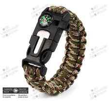 Bracelet Paracorde Kaki 9 po. 4 en 1 - Homme Survie Chasse Boussole Cadeau Noël