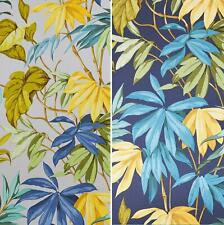 Liane Tropical Wallpaper Grandeco Yellow Navy Palm Leaf Green Grey Vinyl