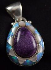 NEW! Sajen Inlaid Sugilite Opal and Mother Of Pearl Pendant Sterling Silver .925