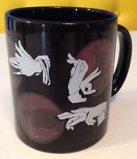 Fun Shadow Puppet Coffee Mug Cup Hands Black and White Ceramic Rabbit Turtle