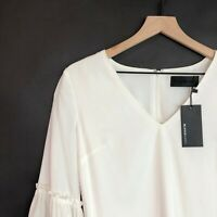 Blaque Label V-Neck Tencel Top M White Bell Sleeves Lined Tunic Womens New