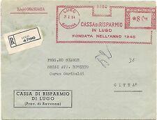 P8735   Ravenna, Lugo, annullo meccanico rosso,raccomadata per città, 1951