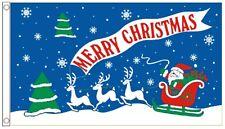 Merry Christmas Santa's Sleigh & Reindeer 3'x2' Flag