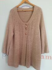 Ladies Dash Long Cardigan Jumper Top Knitwear Sweater Brown Button Button Up...