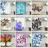 Shower Curtain With Hooks Stylish Butterfly Trees Fabric Waterproof Bathroom NEW