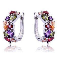 Fashion Jewelry Colors  Amethyst Ruby Women's Silver Plated Ear Hoop Earring
