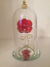 Arribas Brothers Disney Enchanted Rose Beauty & The Beast Glass Dome Ornament