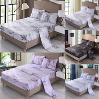 Marble Flat Sheet Fitted Sheet Set + Pillowcase Bedding Full Queen King Size