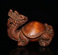 feng shui old boxwood hand carving dragon turtle longevity statue Netsuke decor