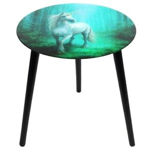 Anne Stokes Forest Unicorn Glass Top Wood Legs Small Round Table