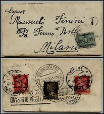 REGNO - FERMO POSTA - Busta Calvignano x Milano 25.9.1935-Tassata in arrivo 25 c
