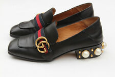 GUCCI Peyton Black Leather Pearl Embellished Women Loafers EU 36 - US 6