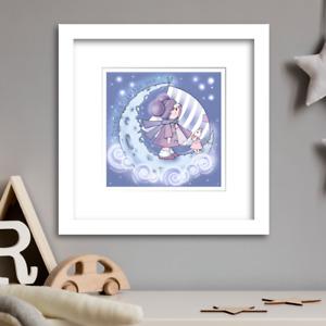 Moonlight Nursery wall art  Limited Edition Print by Illustrator Rachel Mabin