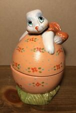 Vintage Hand Painted Ceramic Easter Bunny On Easter Egg Candy Dish