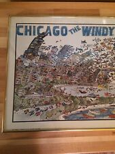 """""""Chicago The Windy City"""" by John Holladay 1984 Framed Print"""