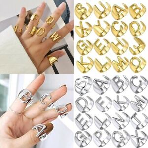 925 Silver Hollow Initial Letter Alphabet Adjustable Wide Ring for Women Men