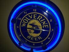 Wolverine Michigan Beer Bar Tavern Man Cave Neon Lighted Wall Clock Sign