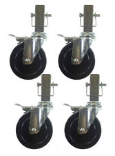 """5"""" Hard Rubber Locking Scaffolding Caster with 1-5/16"""" Square Shank 4 EA"""