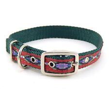 "HAMILTON ST Nylon Dog Collar, 18"" x 3/4"", Dark Green with Southwest Overlay"