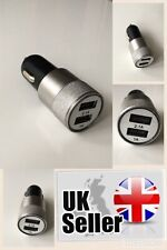 USB DUAL 2 in 1 CAR CHARGER 12V-24V LIGHTER SILVER IPHONE ANDRIOD