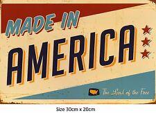 Made In America Retro Tin Metal Sign   20 x 30 cm