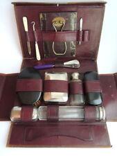 30's Antique Vintage Men's Dressing Soap Travel Kit Leather Vanity Case England