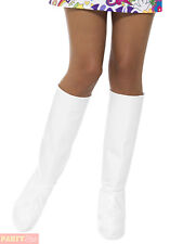 White Gogo Boot Covers - Womens Ladies 60s Fancy Dress Hippie Adults 70s Hippy